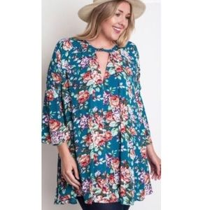 Umgee boho floral plus size bell sleeve dress 1X